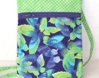 Crossbody bog, Mini messenger and cell phone bag, walking pouch- green and purple butterflies zip bag with zipper, passport bag.  KBD10113