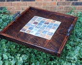 Serving Tray, Natural Slate Mosaic Centerpiece, Reclaimed Wood, Rustic Contemporary, Dark Brown Finish, 24 x 24 - Handmade
