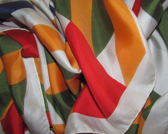 Vintage Castillo Paris Rectangular Silk Scarf - Bright Diagonal Stripes - Gold, Blue, Red, White - Long Silk Scarf