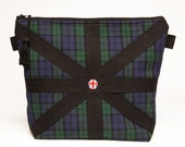 Cosmetic Bag/ Toiletry Pouch / Travel Tote/ Beauty Tote - Black Watch Tartan w/ Union Jack Button