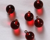 Vintage Glass Marble Bead 6 Pendants 9mm Ruby Red