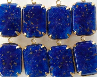 Vintage Glass Octagon Bead Pendants Lapis Blue 18x13mm Brass Setting