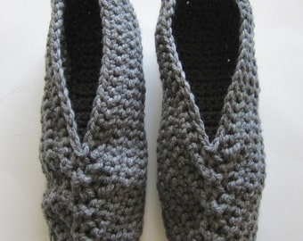 Crocheted Men's Slippers, Size 12 1/2 to 13 1/2, Fathers Day Gift, Grey