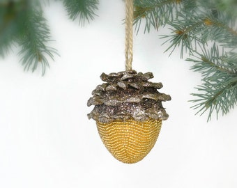 Acorn Ornament Beaded Woodland Decoration Natural Brown Fall Decor*READY TO SHIP
