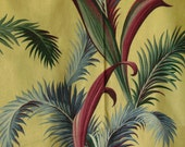 Vintage Tropical Fern Bark Cloth Remnant for Wall Decor Pillow Slip