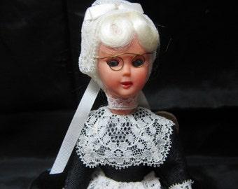 Lace Making Doll Souviner From Les Tour de Monte Dentelles Brexelles Switzerland, Collectible Souviner Doll, Mid Century era Doll