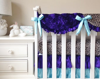 Purple 3D Roses, Leopard, and Mint Bumperless 3 or 4pc Crib Bedding