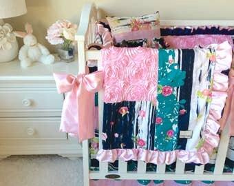 Girl Crib Bedding, Fancy Girl Baby Bedding, Baby Crib Bedding, Navy and Pink Floral Crib Bedding, Lavish Girl Bedding, Flowerful Dandle
