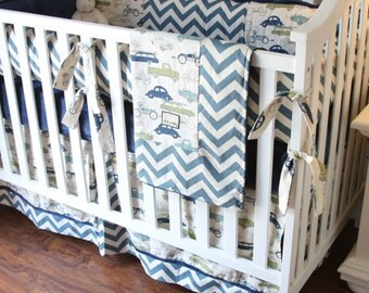 Classic cars, Village Blue Chevron, and Navy Bedding SWATCH SET, Make sure fabrics are exactly what you want before you order!