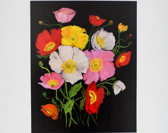 Painted Florals - Colorful Icelandic Poppies on Black - Floral Print  - 8 x 10