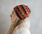 Pure Wool Brown Orange Beige Crochet Beanie Winter Hat Beanie for Woman One of a Kind Knit Beanie Womens Skull Cap Beanie Handmade Lacey Hat