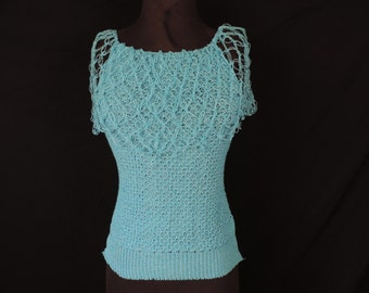 turquoise knit sweater tank top 80s clothing mesh sleeves summer blouse small