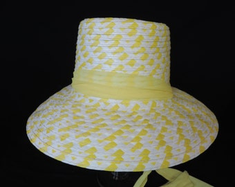 1960's yellow straw sunhat.  mod summer fun wicker wide brim hat.