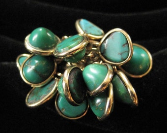 14k Turquoise Cluster Ring, Size 6.5