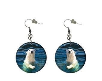 Polar Bear Earrings Swimming Polar Bear Dangle Earrings