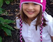 Minnie Mouse Crochet Hat with Pink Bow sizes 3-6 m, 6-12m, Toddler, Teen and Adult, Great for Christmas gift or Halloween Costume