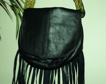 Hand Crafted Leather Black HoBo Bag-Beauitful Spring Sale.