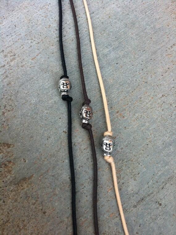 Buddha Bracelet, Cord Bracelet, Vegan Jewelry, Spiritual Jewelry, Hippie, Boho Bohemian Gypsy, Silver Buddha Head