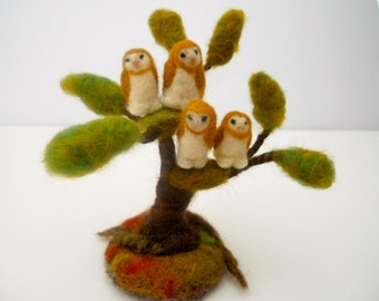 owls in a tree, wee barn owls, dream tree and owls, nature table, play mat, play scape, needle felted owls
