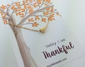 Fall Thankful Heart necklace - Card Thanksgiving party favor gift - tiny Gold heat necklace - Gratitude Jewelry necklace carded gift heart