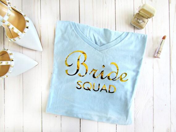 Bride Squad Bridal Bachelorette Bridesmaid white blue gray pink wedding tee shirt t-shirt