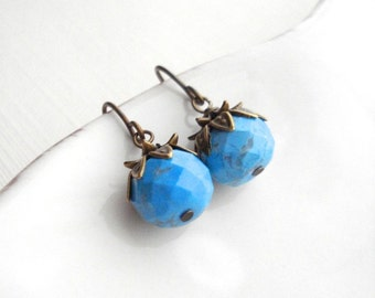 Turquoise Drop Earrings In Antiqued Brass, Blue Dangle Earrings, Blue Stone Earrings, Gift For Her Under 25