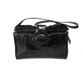Vintage Purse Black Eel Skin Leather Convertible Handbag Crossbody Messenger Bag