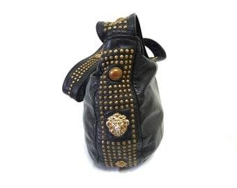 Vintage Black Leather Bag Lion head Studded Beverly Hills Hobo Crossbody bucket Bag