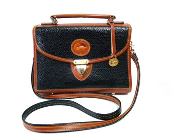 Vintage Dooney & Bourke Bag All Weather Leather Black and Tan Briefcase Satchel Crossbody Handbag