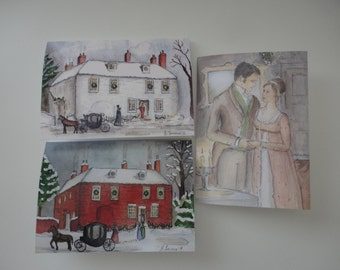 Jane Austen Christmas cards.  Set of three.