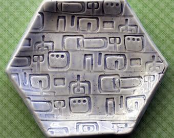 Jewelry Dish - Pale Periwinkle Mid Century Squares Ceramic Jewelry Dish - Hexagon