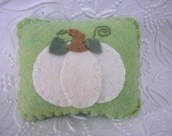 White Pumpkin Pincushion Wool Felt Primitive Applique Felted Quilter Penny Rug