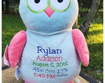 Owl Cubbies- Personalized Stuffed Animal Cubby Doll Birth