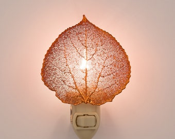 Real Aspen Leaf Dipped In Iridescent Copper  Nightlight  - Iridescent Copper Leaves