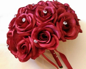 Wedding,  Bouquet, Silk, Apple, Red, Roses, Diamante Pins, Crystals