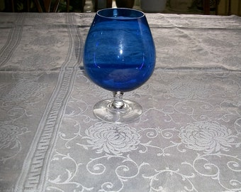"Brandy Snifter Goblet Cobalt Blue Glass 6"" high Vintage 60s-70s"