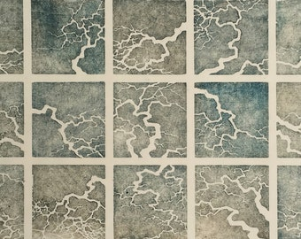 Woodblock Print Artist Proof Limb Study No. 4 hand-pulled moku haga fine art block print monoprint tree branches