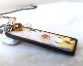 Long Layering Gemstone Necklace, Long Citrine Gemstone Necklace, Sterling Silver, Daisy Art Tile Charm, Garnet Gemstone  Necklace,  - Golden