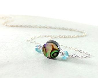 Iridescent Blue Green Abalone Necklace, Sterling Silver, Blue Green Abalone, Blue Apatite Gemstone - Sea Swirls