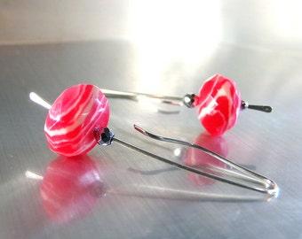 Hot Pink Earrings, Pink Rhodonite Earrings, Sterling Silver, Long Drop Earrings, Pink White Earrings, Natural Stone - Juicy Fruit