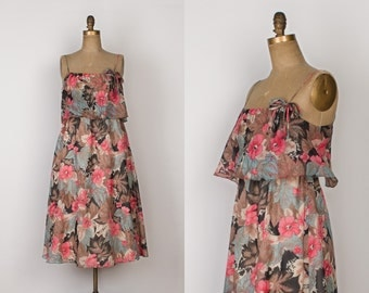 1970s Floral Tiered Dress - Vintage 70s Romantic Boho Sleeveless Midi Dress - S / M
