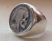 High Polish Sterling Silver Buffalo / Indian Head Nickel Skeleton Skull Hobo Nickel Mans Mens Ring
