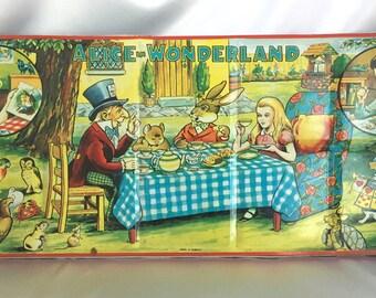 Vintage Page London Alice in Wonderland metal children's paint box - very large