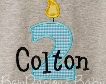 2nd Birthday Shirt, Boys Birthday Shirt, Monogrammed, Personalized, Any Age, Custom Colors, Boys Birthday Shirt