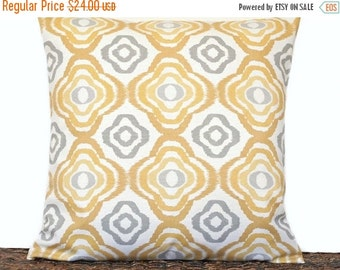 Christmas in July Sale Mustard Ikat Pillow Cover Cushion Retro Geometric Gray Beige Ogee Decorative 18x18