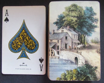 Pretty Vintage Hallmark Playing Cards-Old Flour Mill on a Stream