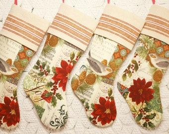 Songbirds, Music, Poinsettias - Beautiful Christmas Collage and Vintage Grain Sack Linen Stocking - Choice of 4 Different Stockings