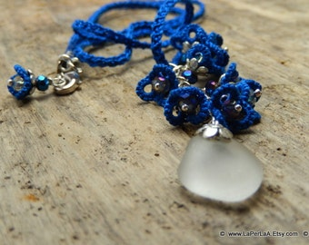 mermaid's tear - FORGET ME NOT - hand tatted lace cluster necklace with genuine sea glass from Amalfi Coast - bridal - made to order