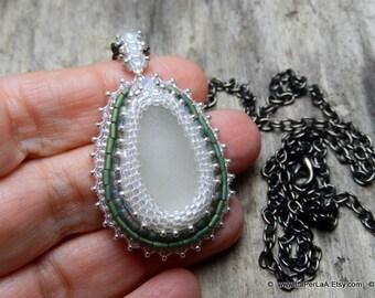 Mermaid Tears -  Organic Genuine Amalfi milky white  Sea Glass - statement necklace - bead embroidery