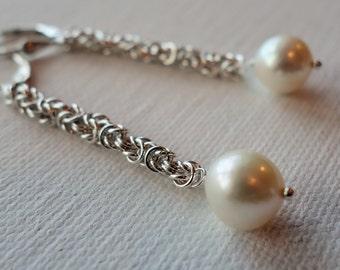Long pearl earrings, sterling silver, freshwater pearls, chainmaille, womens gift, artisan quality, fine jewelry
